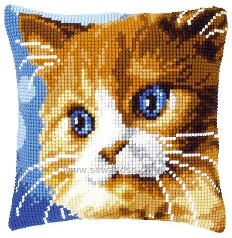 Brown Cat Cushion Front Chunky Cross Stitch Kit