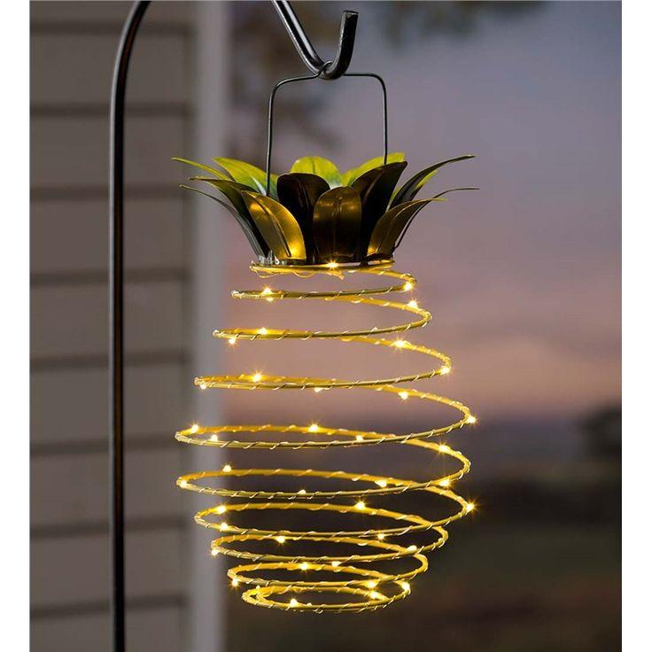 Hanging Solar Lantern Decoration, Pineapple   Solar Accents