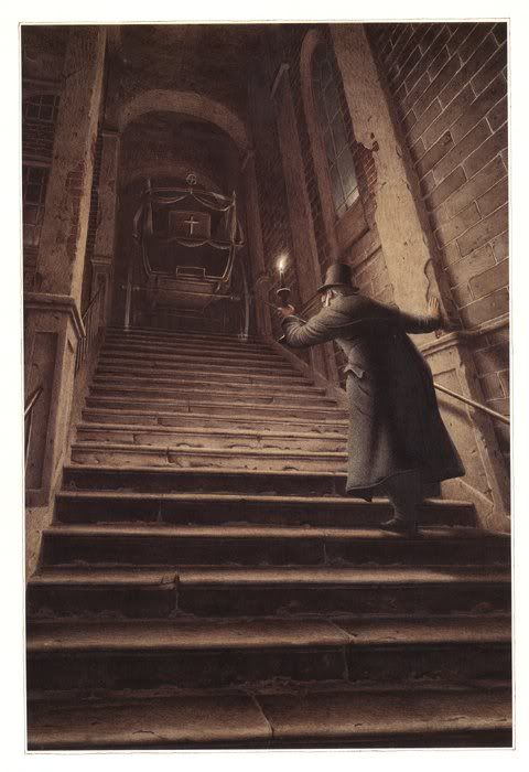 Roberto Innocenti, Scrooge on a dark staircase
