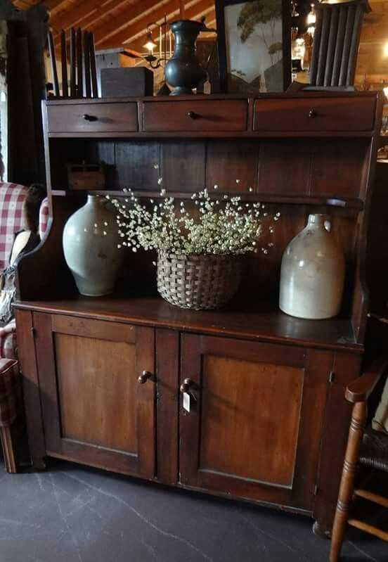 McClards Antiques; Dry Sink with primitives...LOVE all!