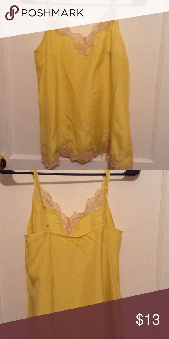 Yellow cami Bright yellow cami top with beige lace with yellow edging.100 % silk Tops Camisoles