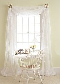 Voile drape curtains - but could use similar idea with my white Indian  cotton drapes over our bed.and with fairylights in too!