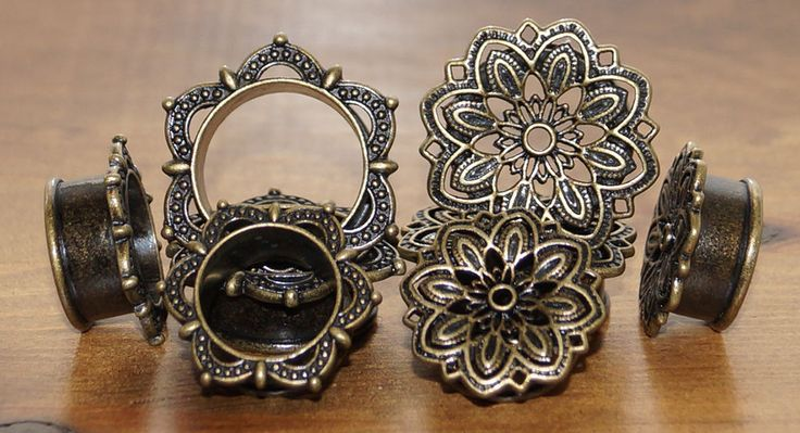 ANTIQUE BRASS FLESH EAR TUNNEL PLUG VINTAGE STYLE MANDALA FLOWER LOBE STRETCHER
