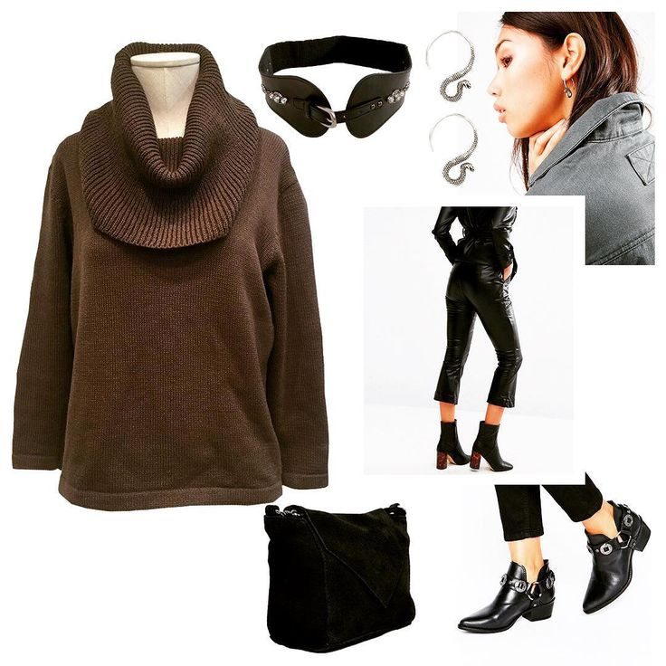 Loose sweaters - a constant must-have in the wardrobe of the modern fashionista! This sweater looks great with leather pants, wide leather belt with studs, suede crossbody bag and comfortable boots with low heels. Complete this way earrings in the form of snakes and you will be the center of attention in any company! #Russian #russianlooklm #russianfashion #lookmagazine #shopping #shoppingonline