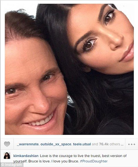 Support: Kim Kardashian posted two selfies of her and Bruce Jenner to Instagram as her step-father's interview was airing on ABC