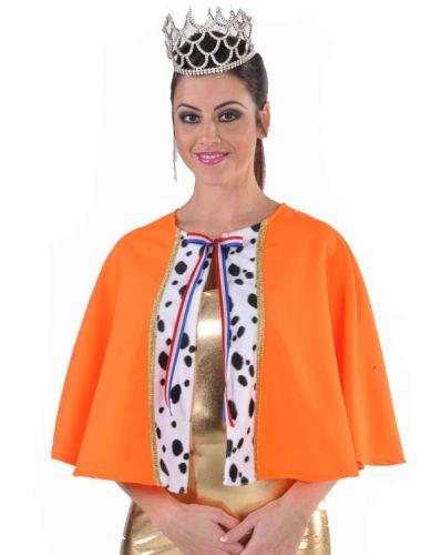 Luxe oranje koningin cape. Korte oranje koninginnen cape van goede kwaliteit. Met een rood wit blauw strikje.