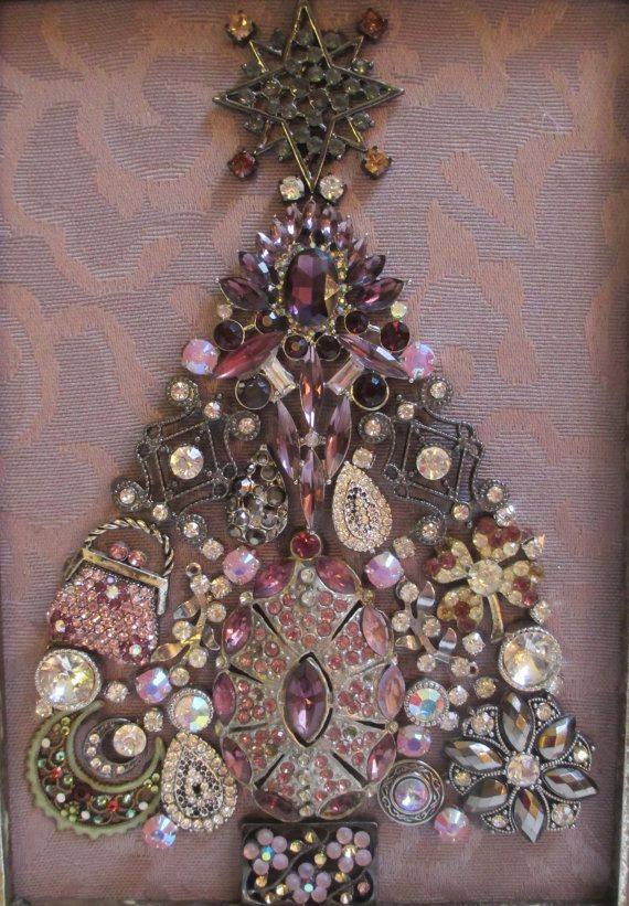 Arbre de Noël de pierreries encadré bijoux argent Vintage