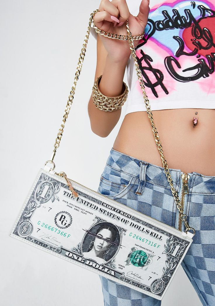 Poster Grl Ca$h Money Bag cuz real bo$$es don't carry change. Keep you loot in this dollar shaped bag that has our PG money graphic all ova, a gold chain strap and a zip closure. #dollskill #postergrl #NewArrivals #NEWNEW