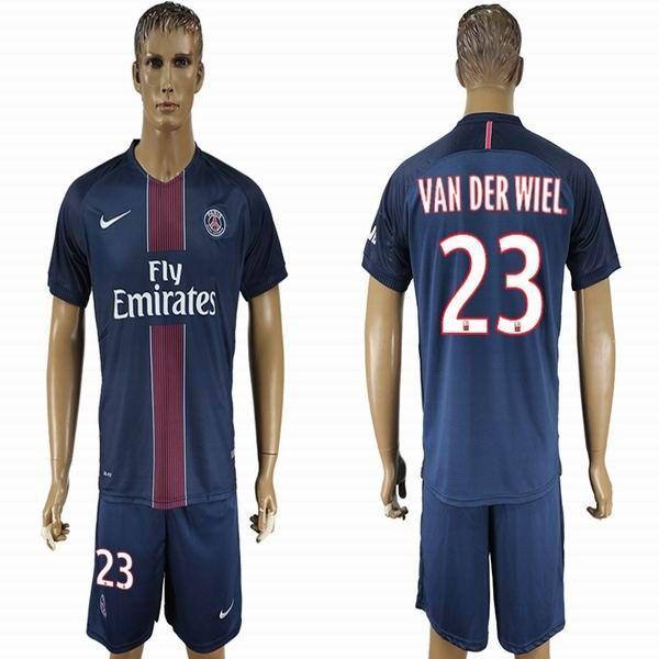 2016 2017 paris st germain van der wile 23 blue soccer jerseys home
