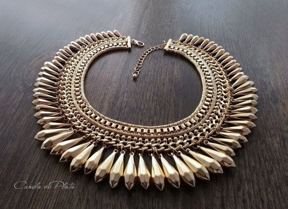 Tribal Necklace gold plating. Ethnic tribal por CaneladePlata