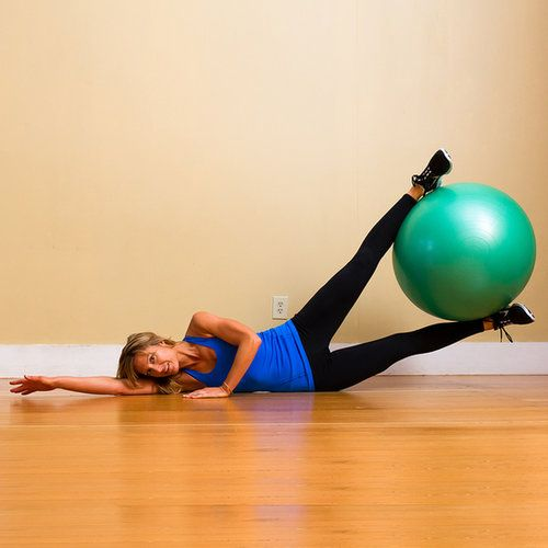Lie on your side on the floor with your arms crossed in front of your body. If this is uncomfortable, bend your bottom elbow and rest your head on your hand. Place a large exercise ball in between your feet and slowly lift the ball up toward the ceiling using only your hips and butt. Return to the start position. This counts as one repetition. Complete three sets of