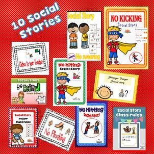 Revisited & updated!  NEW BEHAVIOUR REFLECTIONS SHEETS ADDED!  My Social Story Bundle includes 10 of my best selling Social Stories plus 6 Social Story strips.
