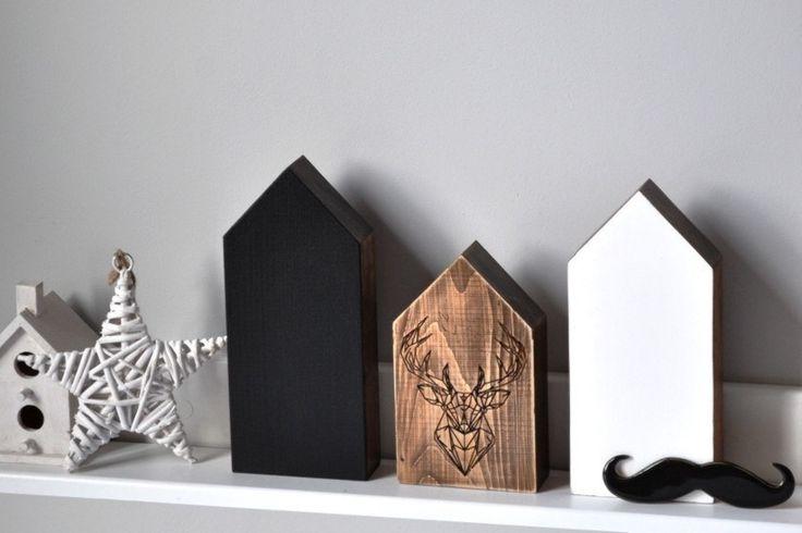 Domki w stylu skandynawskim, mały domek  z motywem jelenia. Do nabycia na daWanda, dekoracjezdrewna@op.pl