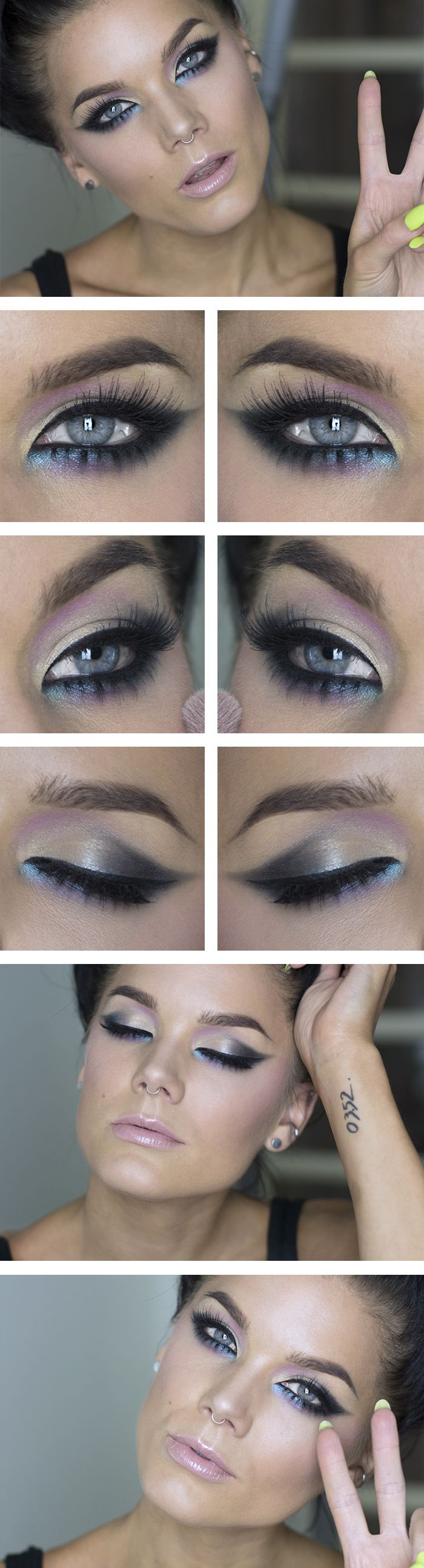 Eye make up with blue liner