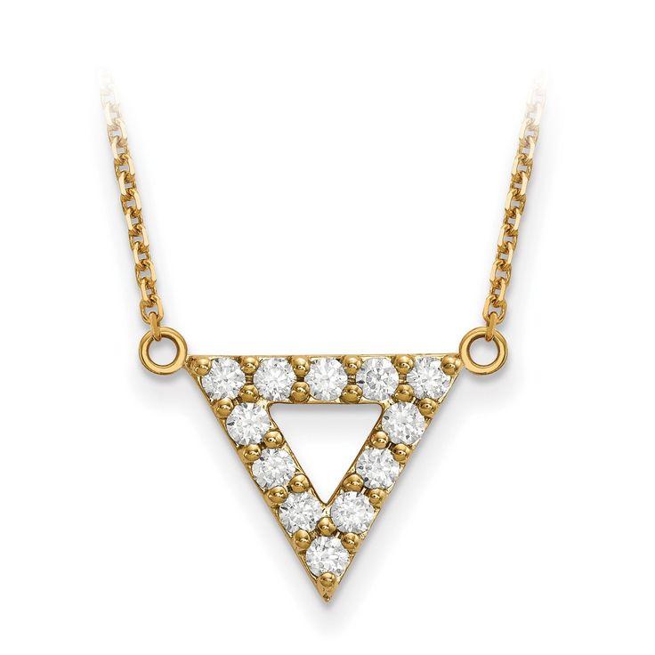 14k AA Quality Diamond 3mm Triangle Necklace XP5012AA