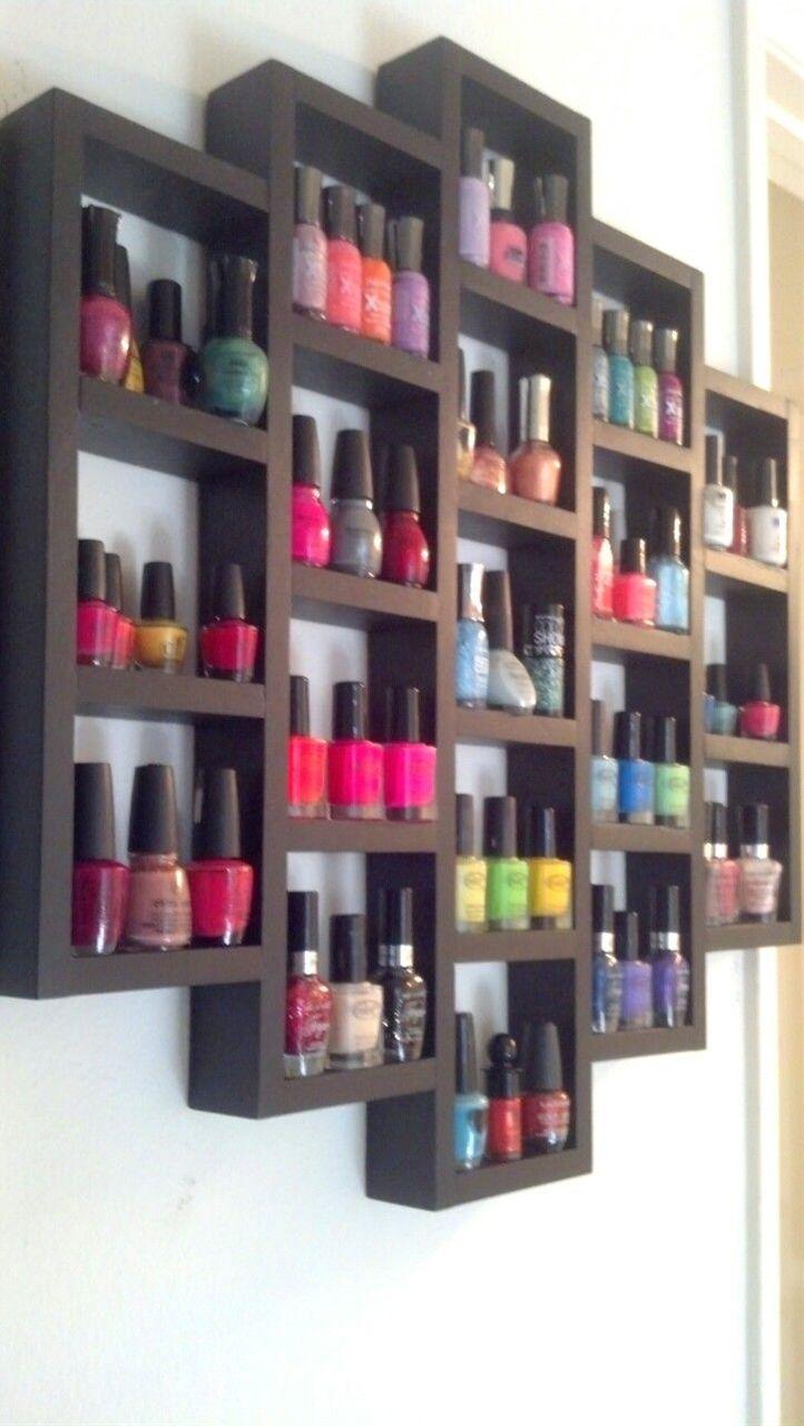 Wooden nail polish rack.