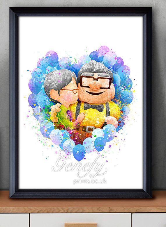 Disney Pixar Up Carl & Ellie Watercolor Poster by GenefyPrints