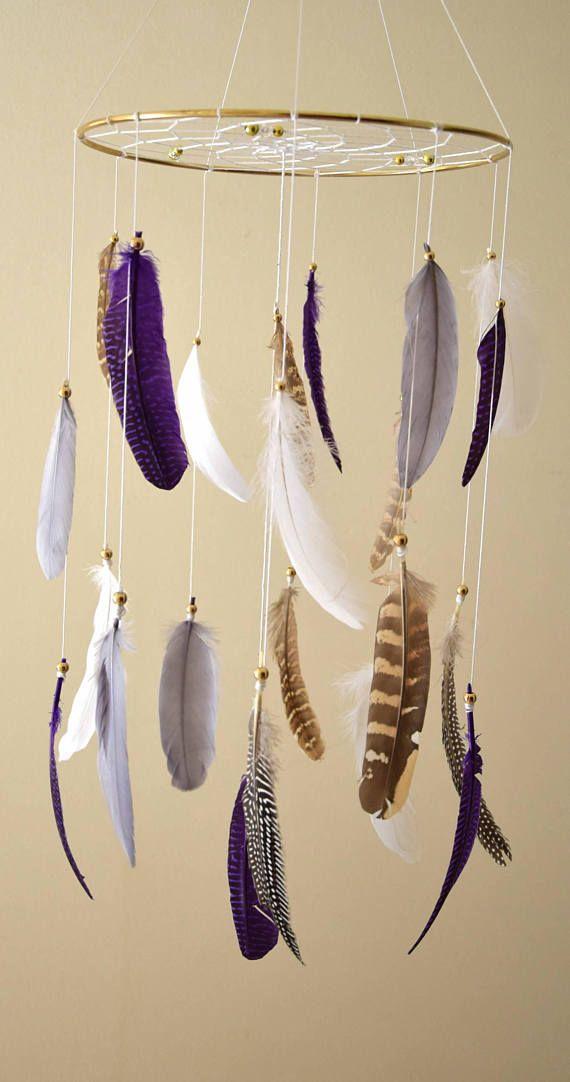 Baby Nursery Mobile Dream Catcher Baby Mobile  Purple Tribal