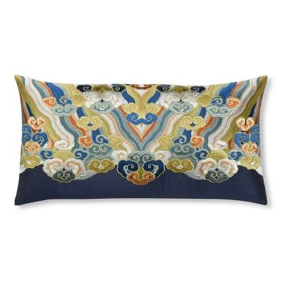 Embroidered Clouds Pillow Cover, Navy/Multi #williamssonoma