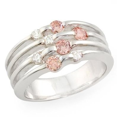 1/2ct Pink & White Round-cut 14K White Gold Diamond Ring