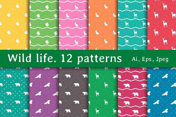 Wild life. 12 Patterns by Alla_Ri_Shop on @creativemarket