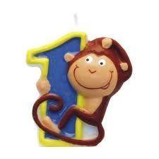 Świeczka cyferka 1  ZOO - małpka