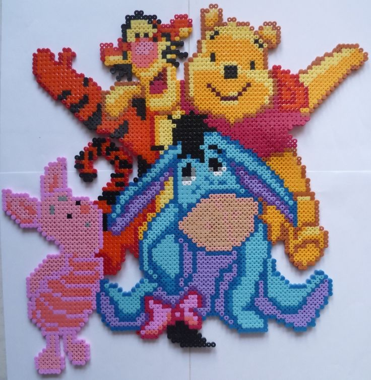 Fancy Winnie the Pooh and friends hama beads by creationperles