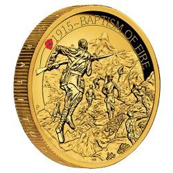 The ANZAC Spirit 100th Anniversary Coin Series - Baptism of Fire 2015 2oz Gold Proof High Relief Coin