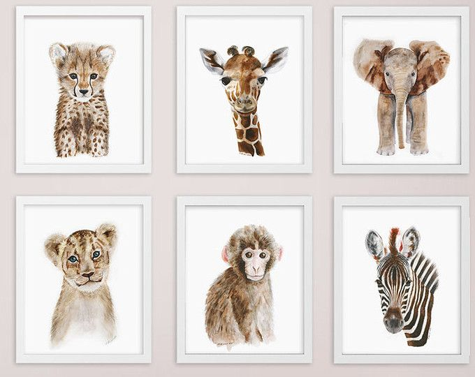 Animalito africano, impresión de guardería Set, Safari vivero arte imprime, arte Animal, bebé elefante, jirafa, mono, guepardo, León, cebra