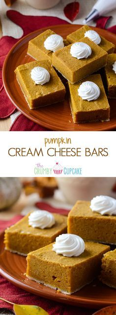 Pumpkin Cream Cheese Bars | Creamy, decadent little pumpkin pie bars, made with lots of love and cream cheese!