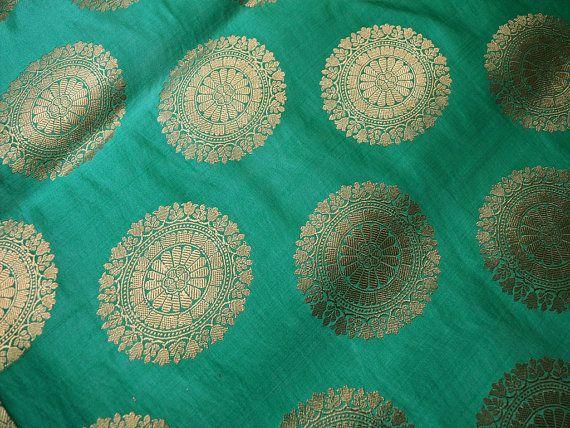 Sea Green Silk Brocade Fabric by the Yard, Banarasi Silk Brocade Fabric, Banaras Brocade Blended Silk Fabric for Wedding Dress fabric