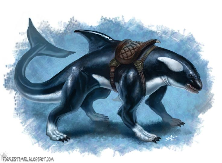 Akhlut- Inuit myth: an orca/wolf. It could shape shift between forms, even becoming a monstrous hybrid of both predators. There is not much information about them, other than you know there is one near if you see wolf tracks in the snow lead into water.