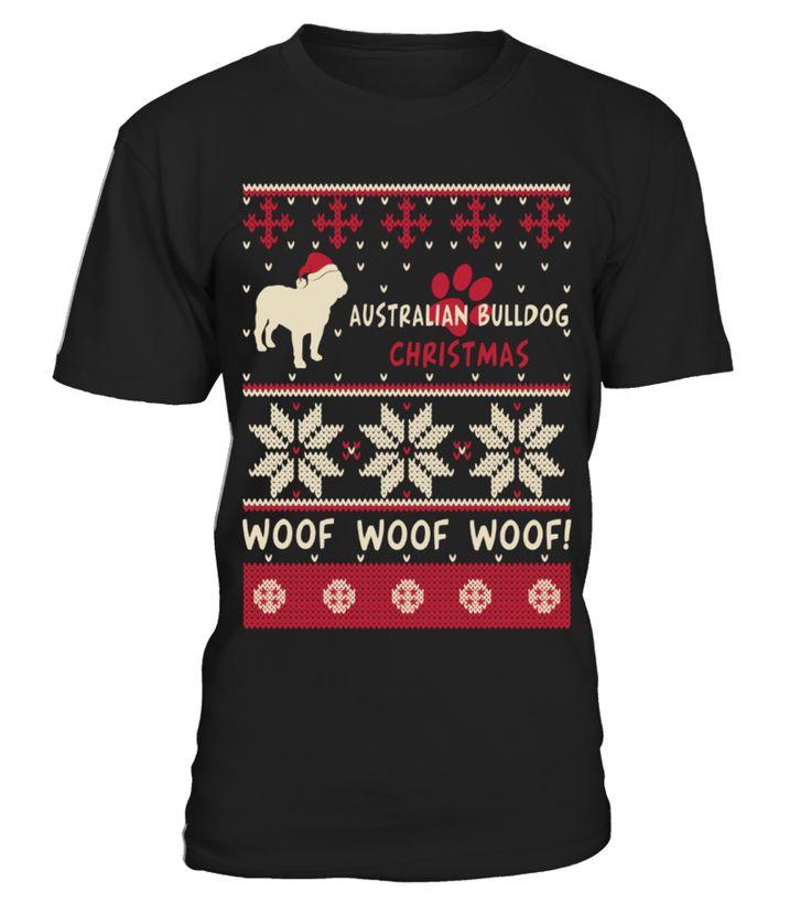 Australian Bulldog Christmas Woof Woof Woof  Funny Wolf T-shirt, Best Wolf T-shirt