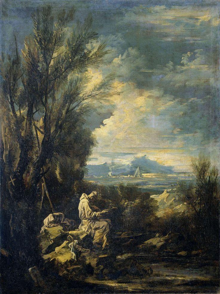 Alessandro Magnasco | Landscape with Saint Bruno ?, Alessandro Magnasco, 1700 - 1749 | Landschap met een karthuizer kluizenaar, wellicht de heilige Bruno. De heilige zit in een landschap aan de oever van een beek op rotsen in gebed verzonken met een kruis in de handen. Pendant van SK-A-3408.
