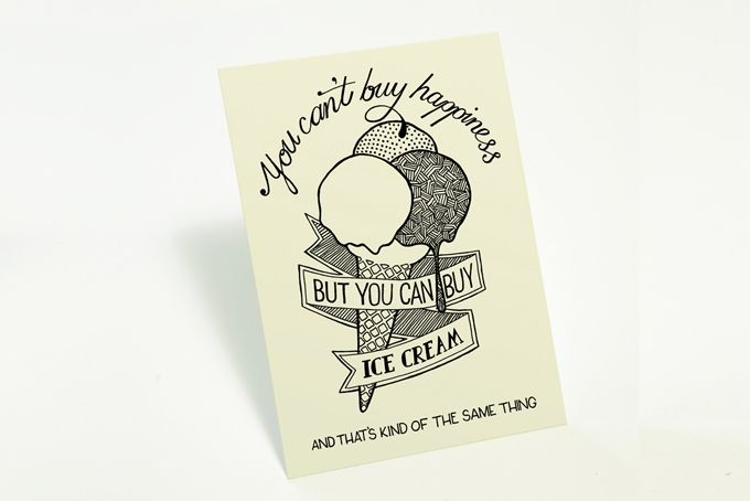 """Can't Buy Happiness"" card by Tatjana Buisson Design/ Illustration"