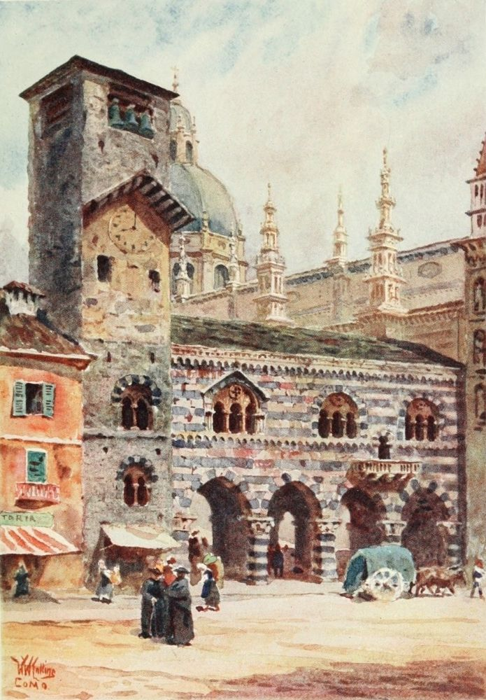 Cathedral of the Broletto di Como. Watercolour by William Wiehe Collins (1862-1951) http://www.universalcompendium.com/gen_images/ucg/collins%20ww/italian-cities/brotello-como-william-wiehe-collins-watercolour-painting-italy-cities-cathedral.htm