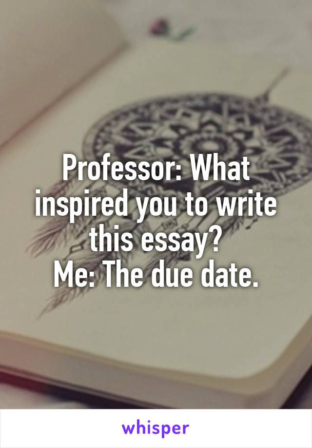 Professor: What inspired you to write this essay? Me: The due date.