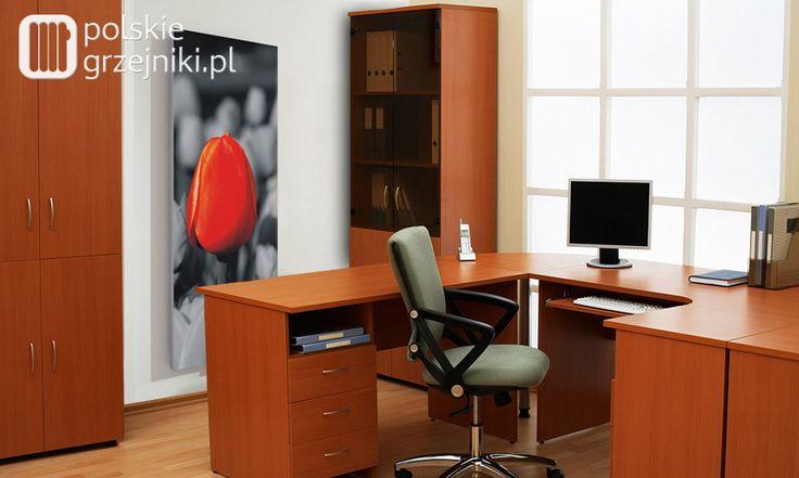 Oryginalny grzejnik dekoracyjny w stylowym biurze. #grzejnikiozdobne #grzejnikidekoracyjne #grzejnikidobiura