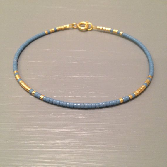 Delicate Thin Bracelet, Bridesmaid Bracelets, Something Blue Bracelet This listing is for one beaded gold fill Bracelet. Bracelet is made of a