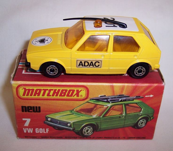 """MATCHBOX"" SUPERFAST SF-7 VOLKWAGEN GOLF YELLOW GERMAN ""ADAC""  Near MIB #Matchbox #Volkswagen"