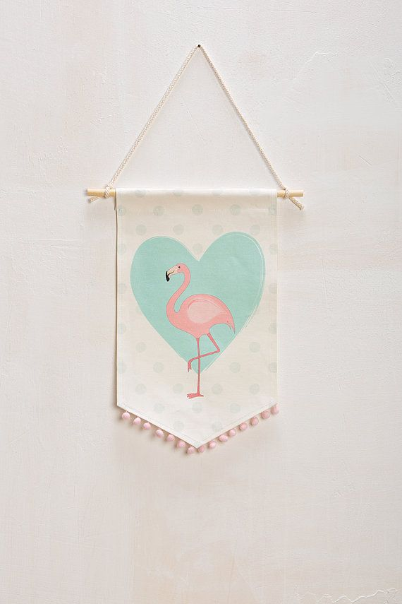 Fabric wall banner flamingo print girl's wall by Nuppi on Etsy