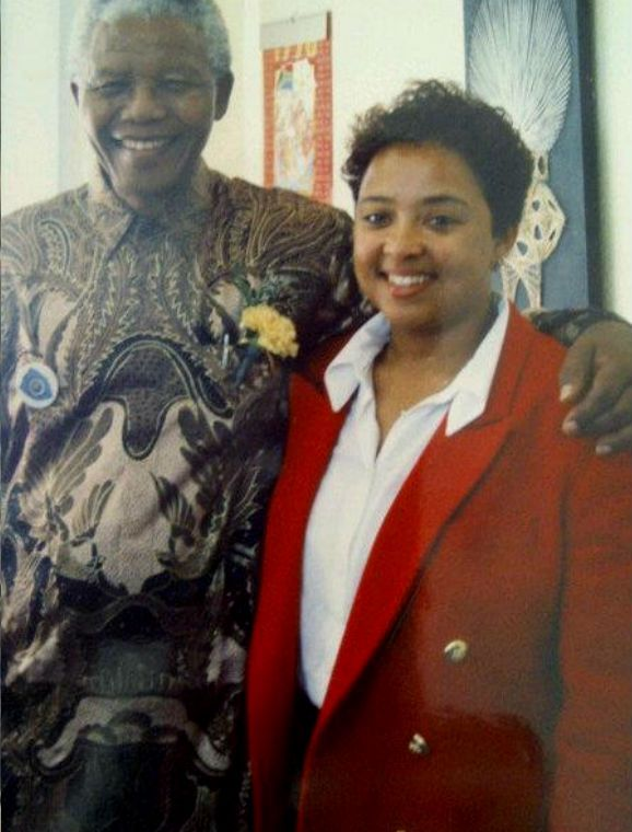 Heidi Dennis with Madiba at Beacon Hill High School, Beacon Valley, Mitchell's Plain in 1995. Submitted by Heidi Dennis-Manus