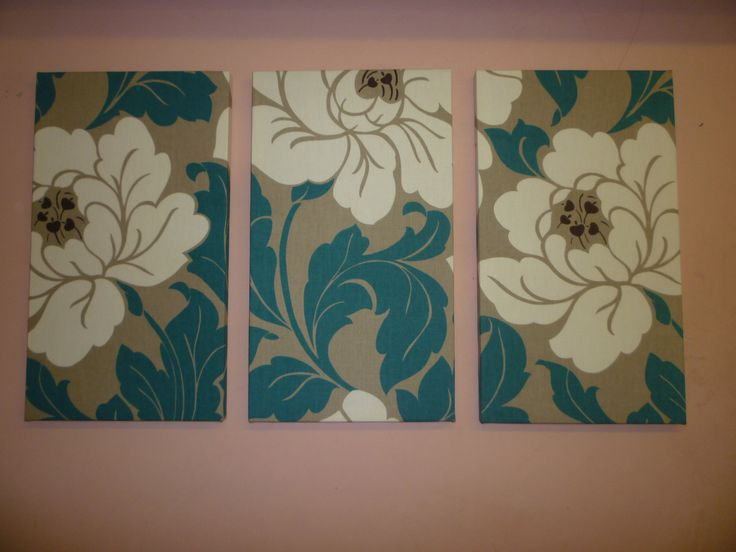 Big Fabric Wall Art Teal / Petrol Blue Cream Taupe Tryptich