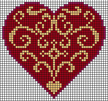 heart charts - Center motif, all over pattern or two motifs flipped together like a diamond.