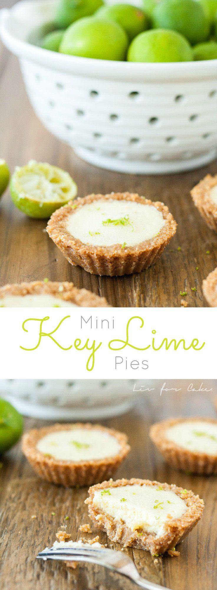 These Mini Key Lime Pies are the perfect bite-sized version of traditional Key Lime Pie. | livforcake.com