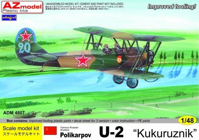 Polikarpov U-2 Kukuruznik. Admiral, 1/48, rebox 2013 (ex Gavia 2000 No.004/0600, updated / new parts), No.4807. Price: 23,61 EUR (marketplace).