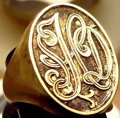 signet ring. Monograms engraving, initials engraving