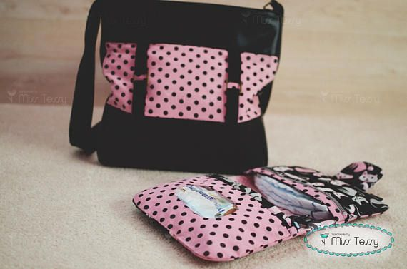Diaper bag girl with cats diaper clutch | Diaper bag set for mother | diaper bag for girls baby | black and pink diaper bag set