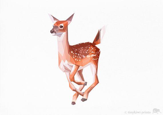 Deer, Bambi, Baby Deer, Geometric print, Original illustration, Animal print, Minimal art, Nursery wall art