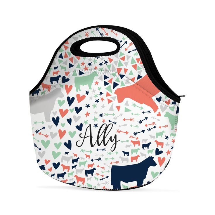 Abstract Personalized Livestock Lunch Bag Coral,  - Stock Show Boutique, Stock Show Boutique - 2